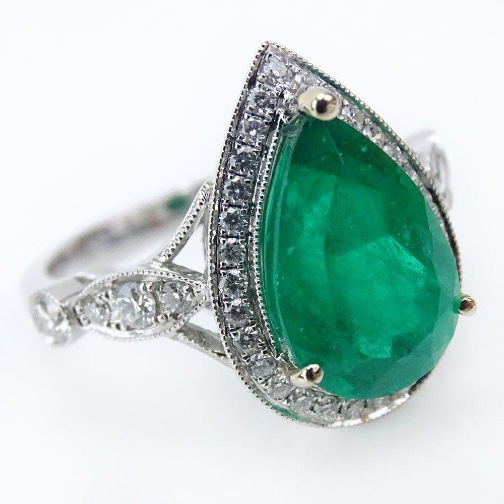 AIG Certified 3.94 Carat Mixed Cut Emerald, .53 Carat