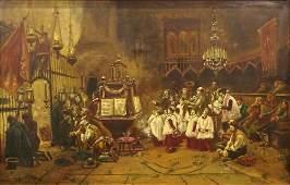 "19th Century Italian School Oil on Canvas ""Church"