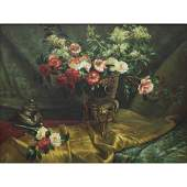 Richard Stewart 20th C Large Oil Painting Still Life