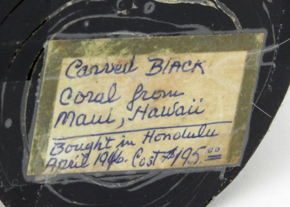 "Vintage Carved Black Coral Figurine ""Asian Woman"" - 4"