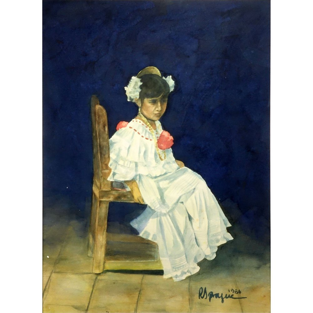 "Peruvian Watercolor ""Posing Seated Young Girl"" Dated"