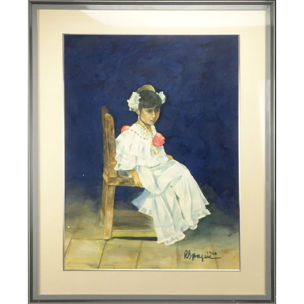 "Peruvian Watercolor ""Posing Seated Young Girl"" Dated - 2"