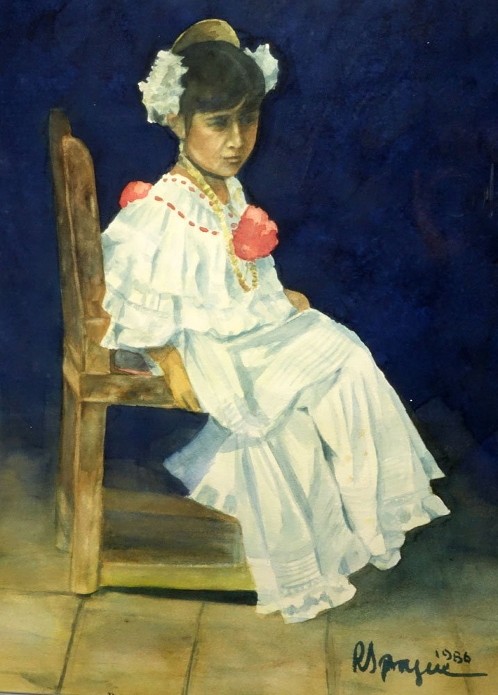 """Peruvian Watercolor """"Posing Seated Young Girl"""" Dated - 4"""