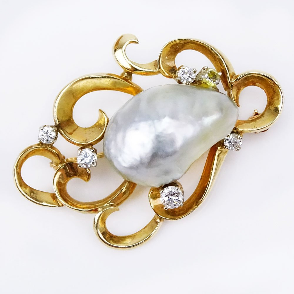 Vintage 14 Karat Yellow Gold, Large Baroque Pearl and