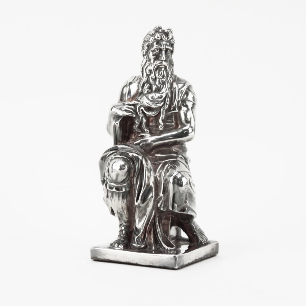 Sterling Silver Figure of Moses Sculpture. Signed