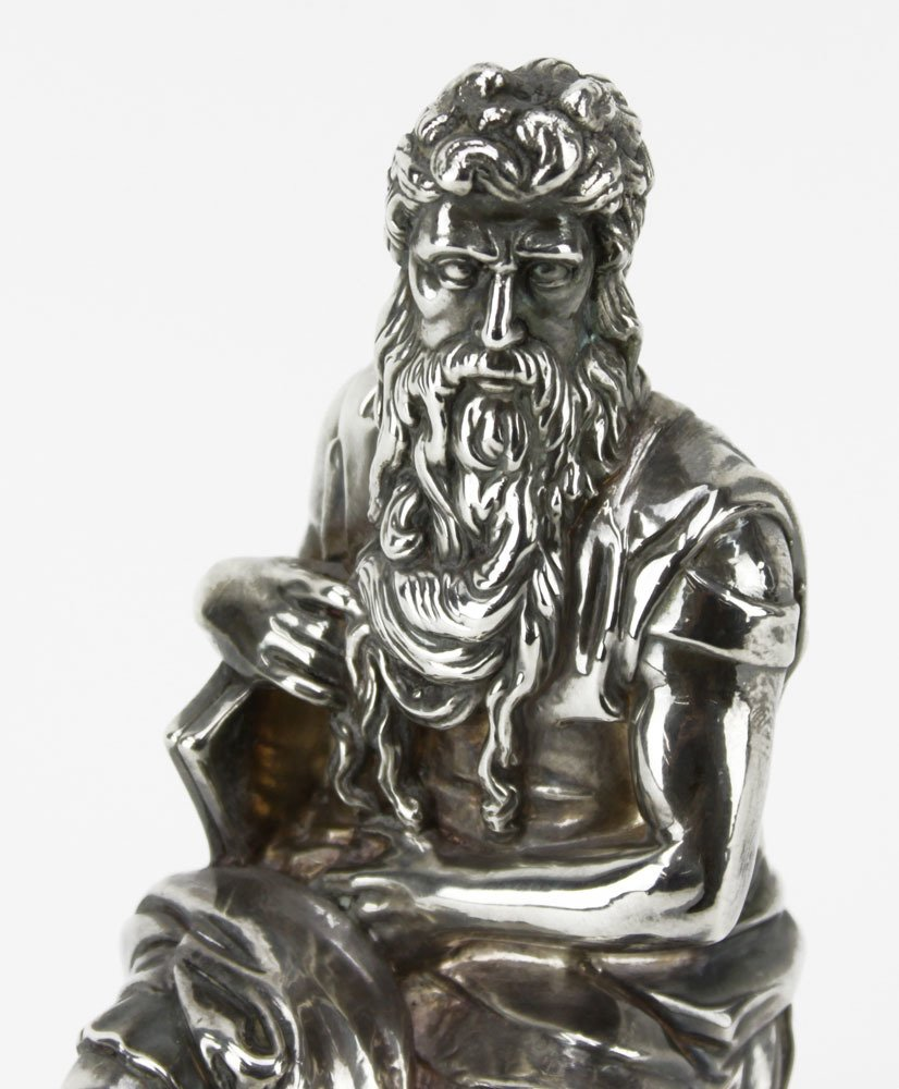 Sterling Silver Figure of Moses Sculpture. Signed - 3