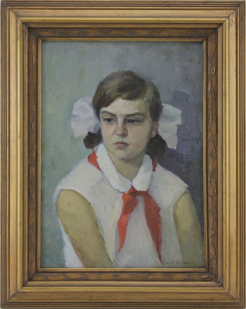 """20th Century Russian Oil on Canvas """"Portrait Of A Girl"""" - 2"""