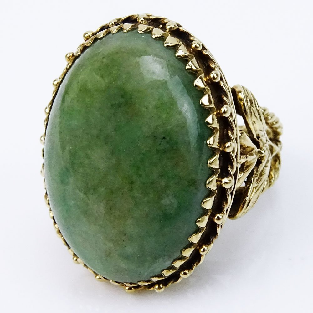 Vintage Cabochon Green Jade and Filigree 14 Karat