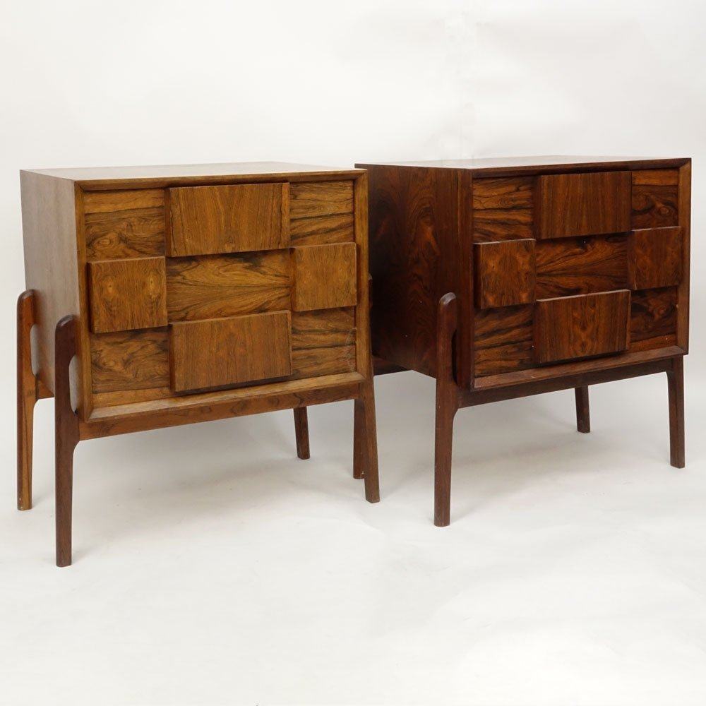Pair Mid Century Modern Danish Rosewood End Tables.