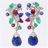 Cartier style Approx 7350 Carat Emerald Ruby and