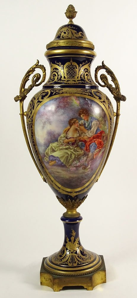 Large 19/20th Century Hand Painted Bronze Mounted