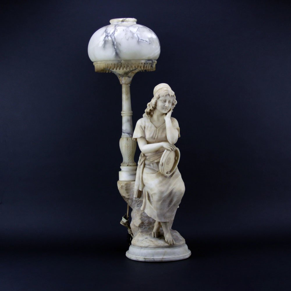 Antique Figural Alabaster Lamp. Features a gypsy with