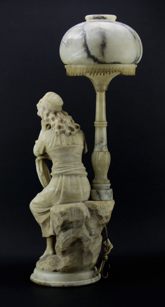 Antique Figural Alabaster Lamp. Features a gypsy with - 2