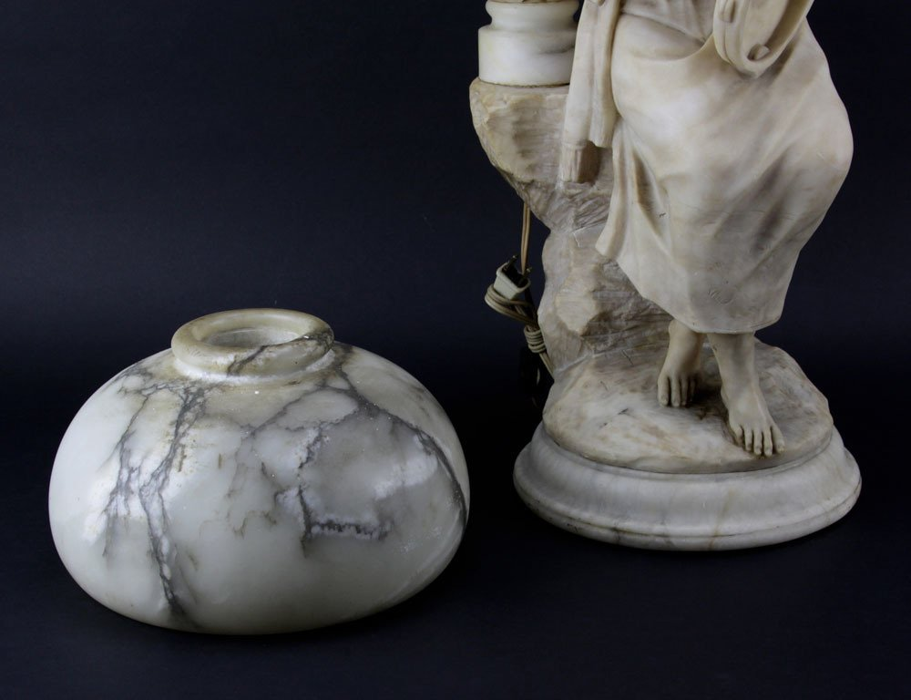 Antique Figural Alabaster Lamp. Features a gypsy with - 3