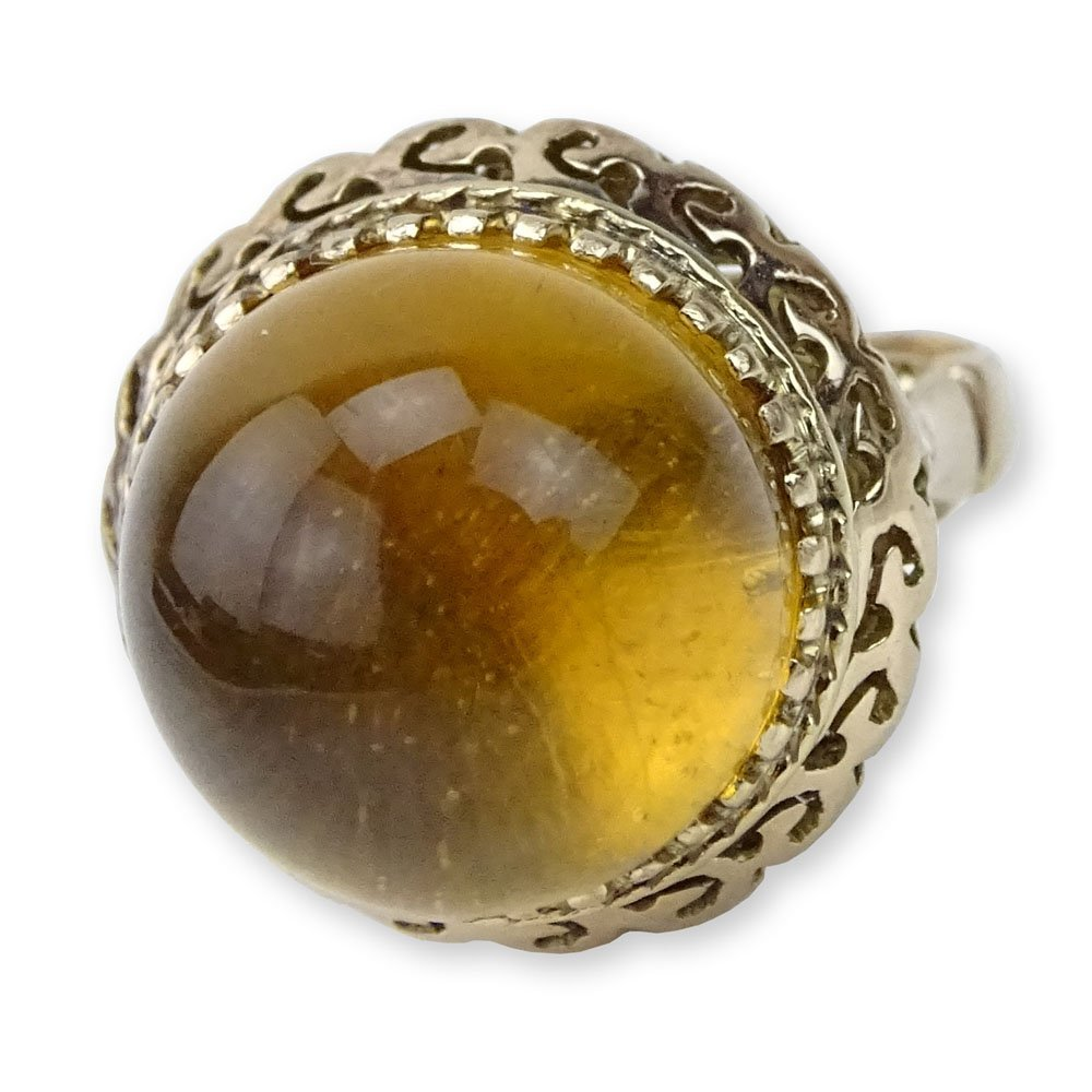 Vintage Cabochon Dome shape Citrine and 14 Karat Yellow