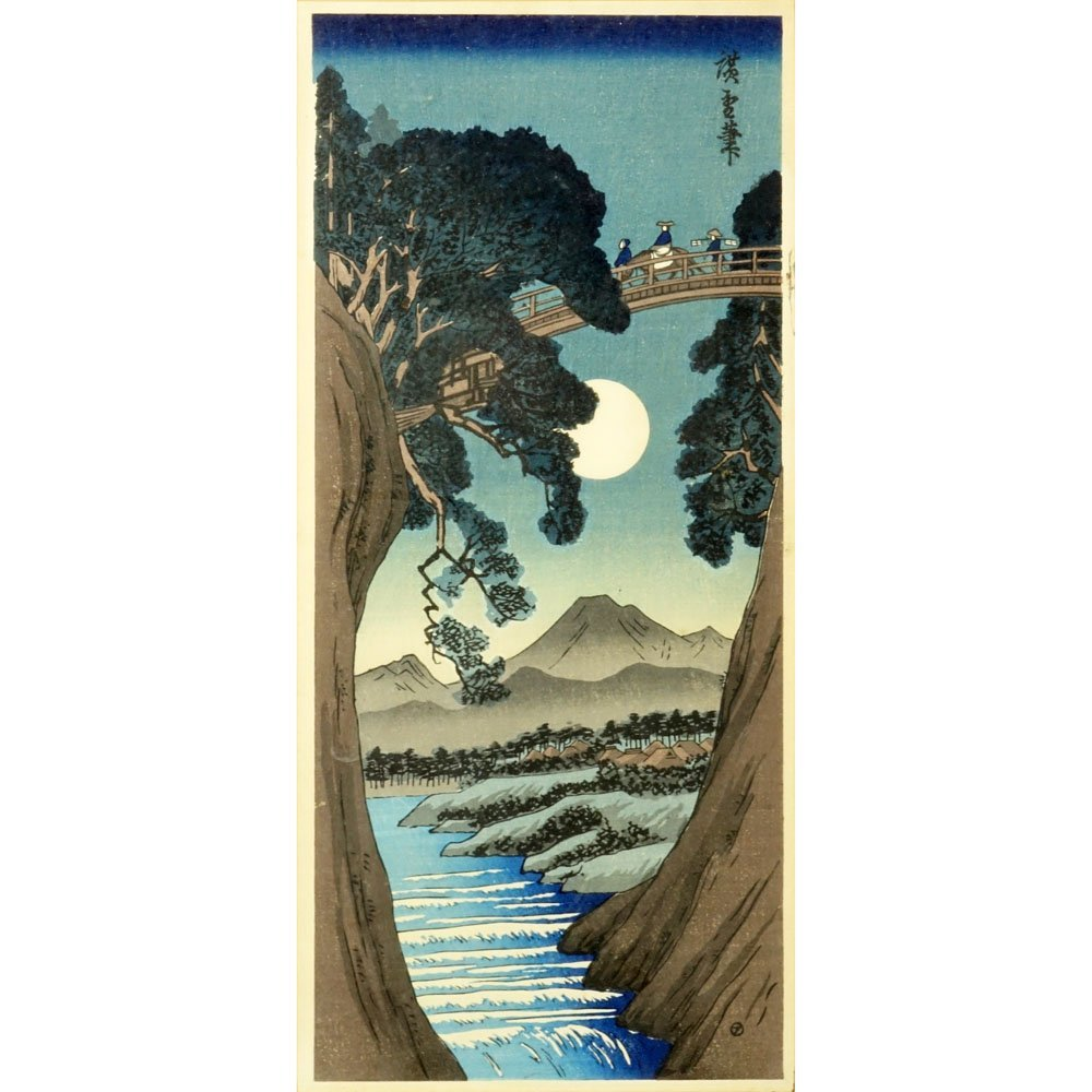 """Antique Japanese Color Woodblock Print """"Crossing The"""