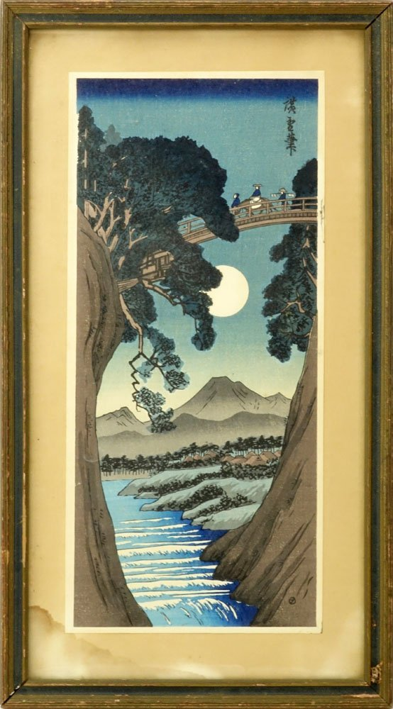 "Antique Japanese Color Woodblock Print ""Crossing The - 2"