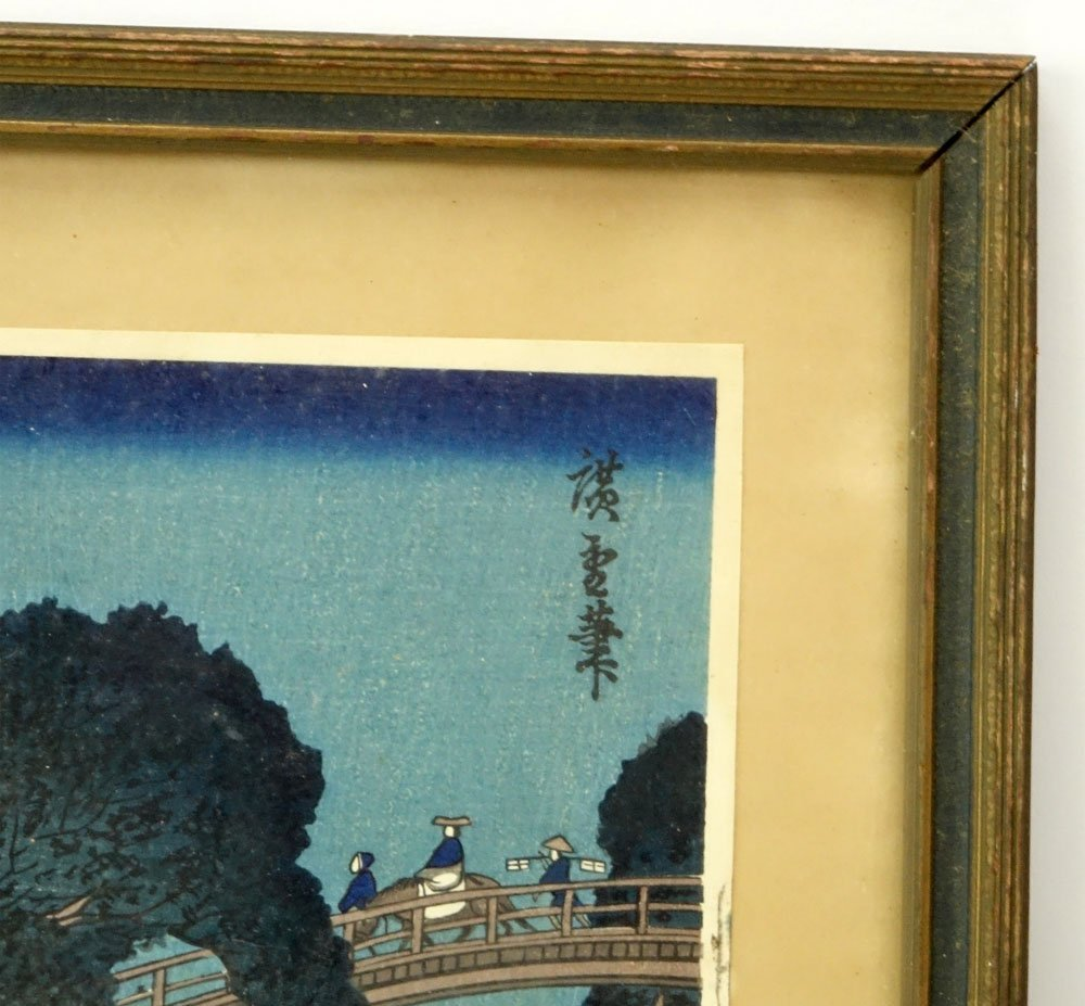 "Antique Japanese Color Woodblock Print ""Crossing The - 3"