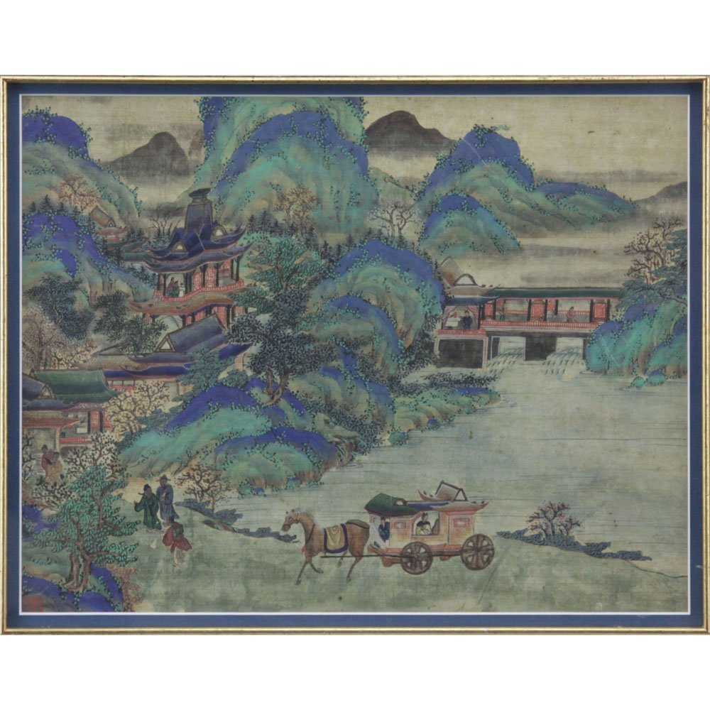 19th Century Chinese Ming Style Village Scene Painting