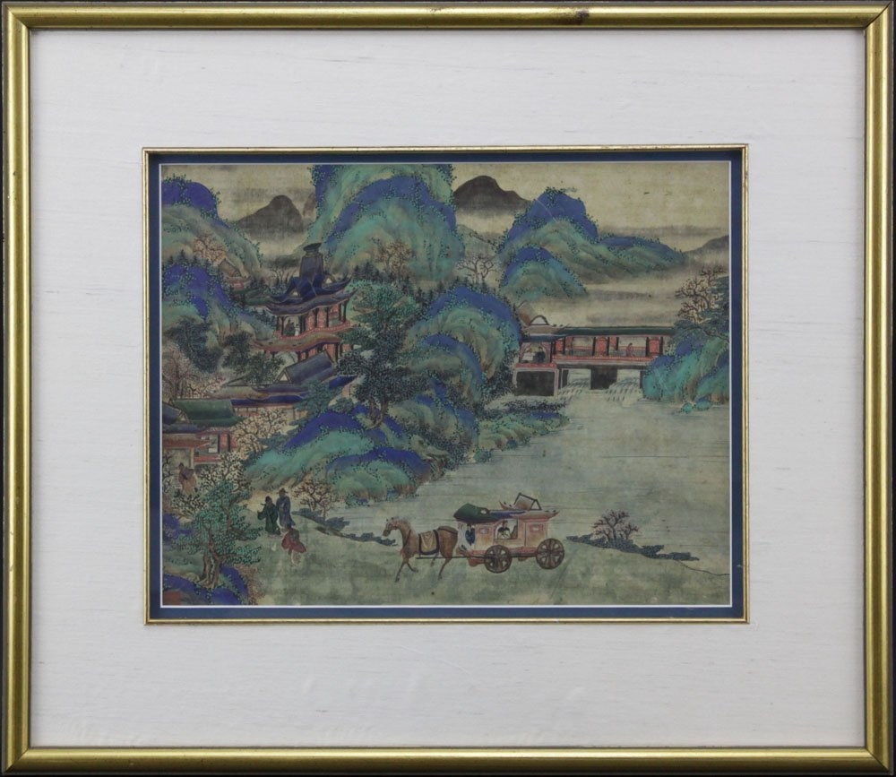 19th Century Chinese Ming Style Village Scene Painting - 2
