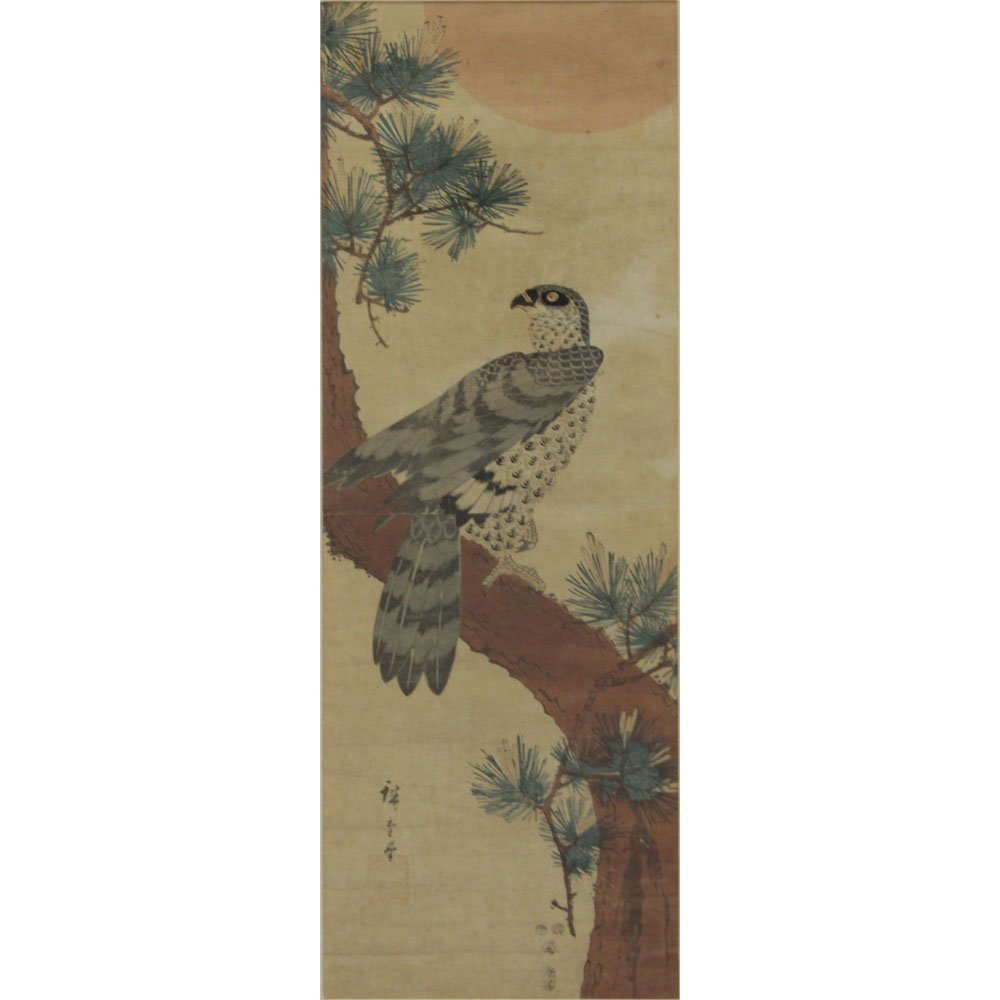 19th Century Japanese Hawk on Matsu Tree Scroll
