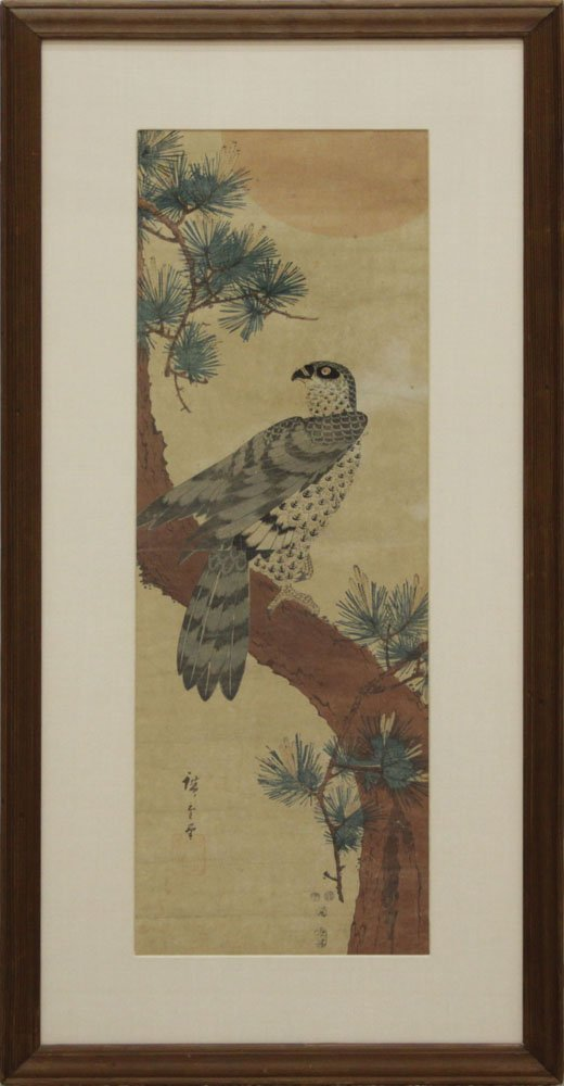 19th Century Japanese Hawk on Matsu Tree Scroll - 2