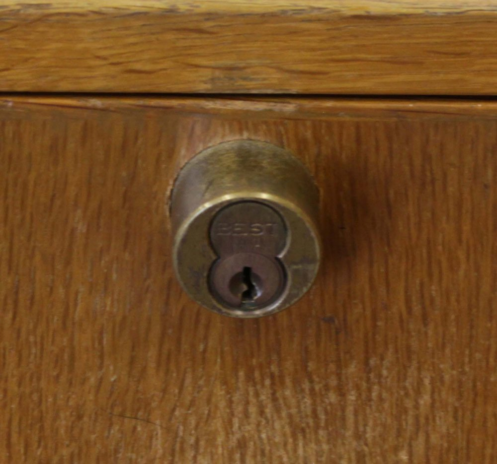 Vintage Three Part Oak and Glass Locking and Lighted - 3