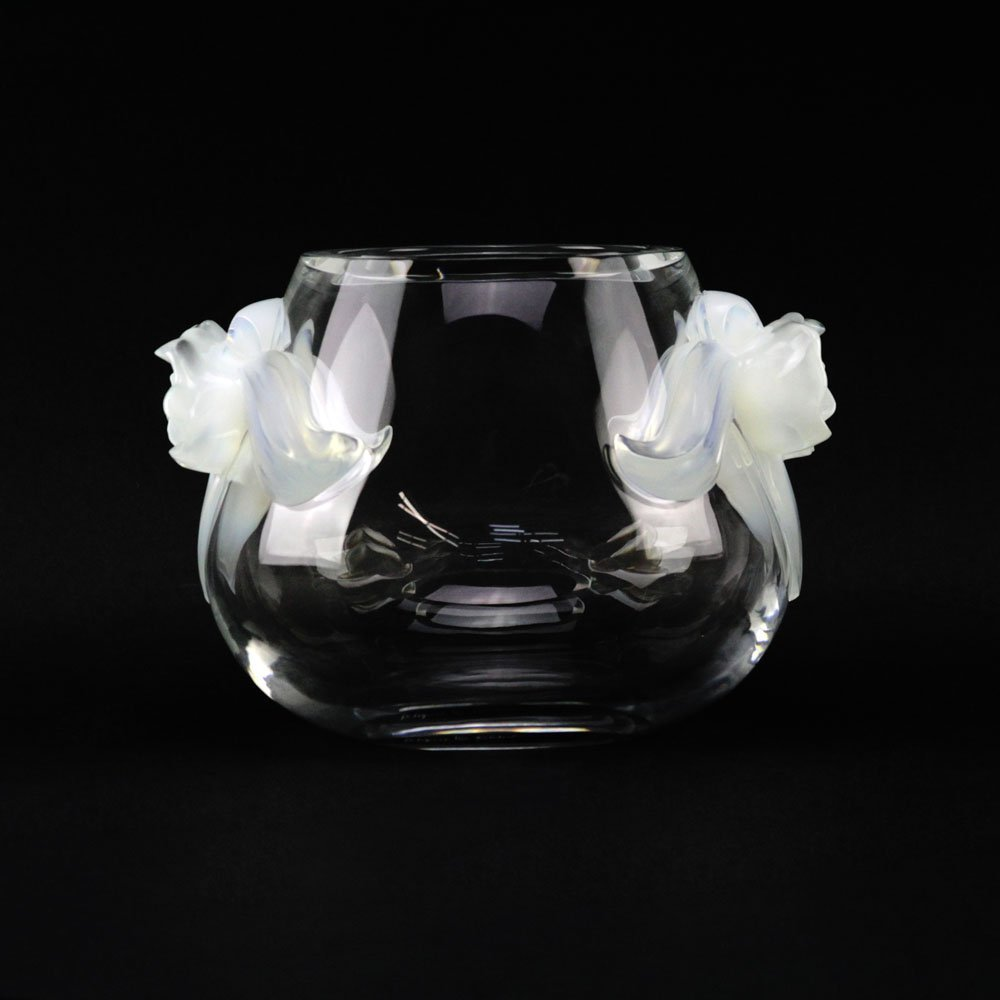 """Lalique France """"Orchidee"""" Crystal Vase with Opalescent"""