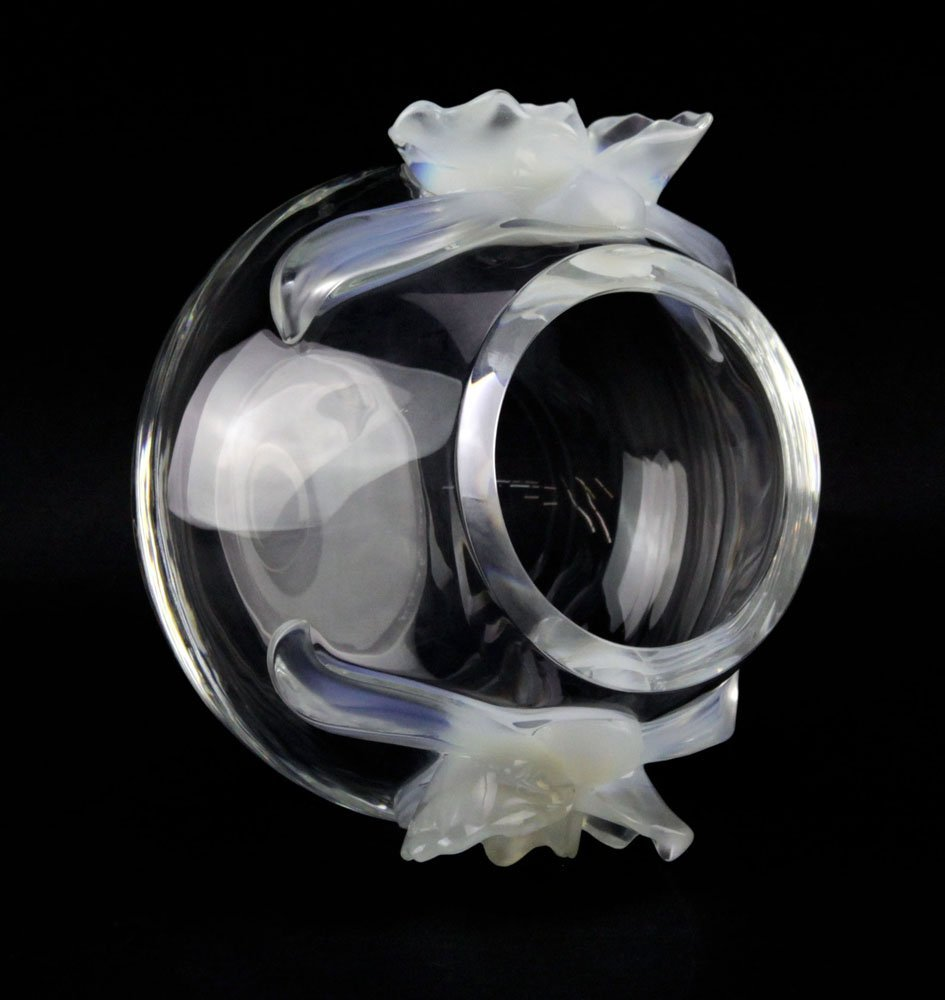 """Lalique France """"Orchidee"""" Crystal Vase with Opalescent - 3"""