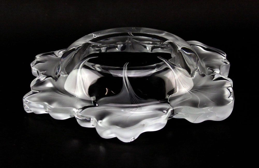 "Lalique France ""Capucines"" Frosted Crystal Bowl. - 3"