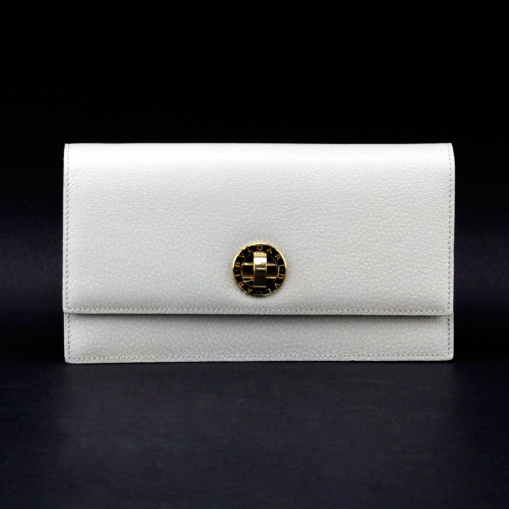 Bulgari Italian Cream Color Genuine Leather Clutch