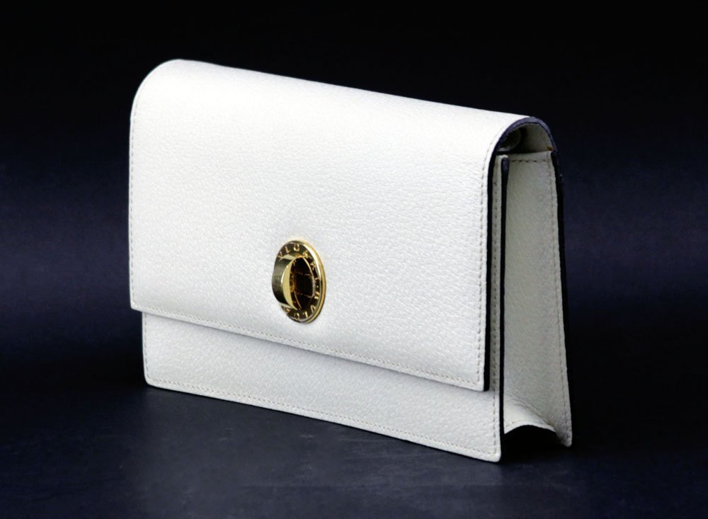 Bulgari Italian Cream Color Genuine Leather Clutch - 2