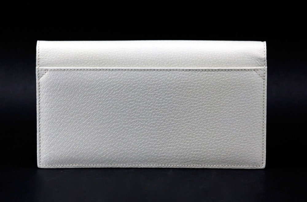 Bulgari Italian Cream Color Genuine Leather Clutch - 3
