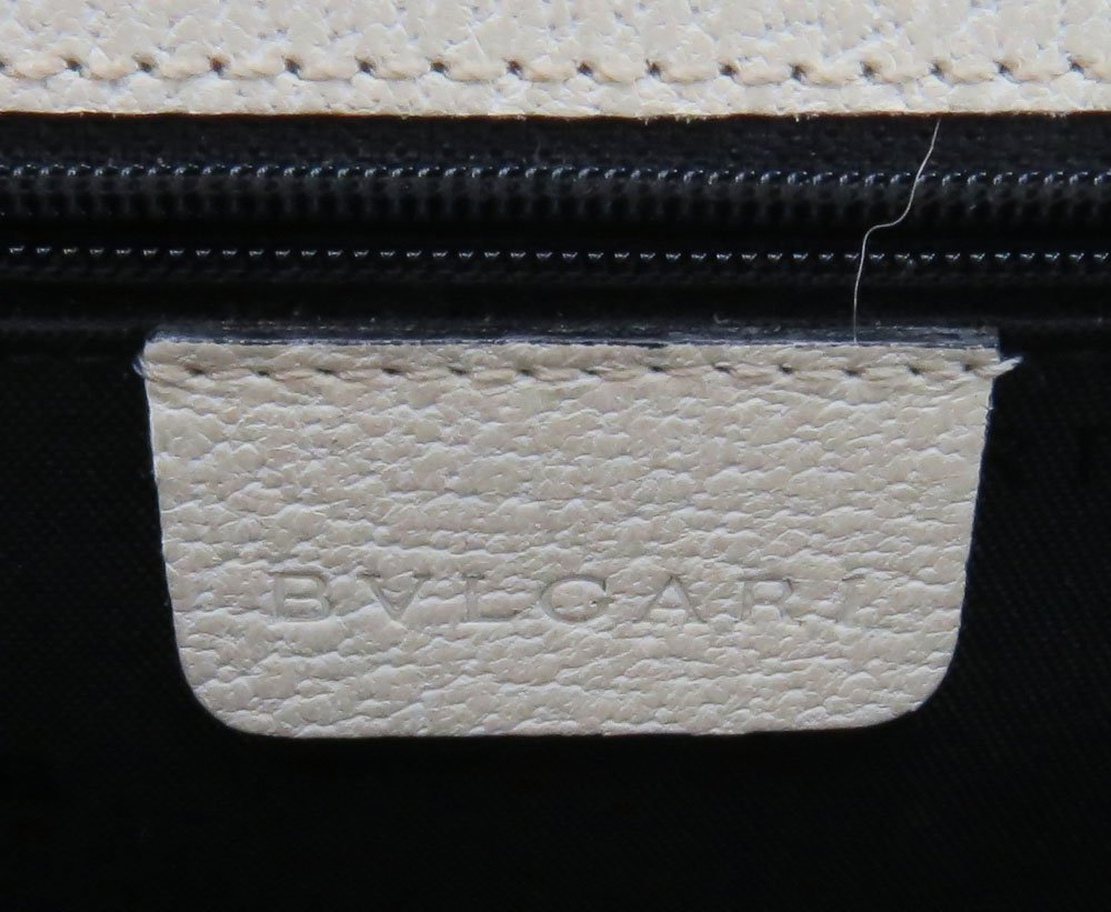 Bulgari Italian Cream Color Genuine Leather Clutch - 5