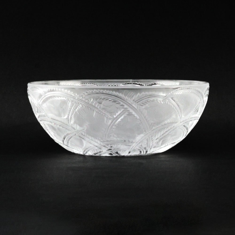 "Lalique France ""Pinson"" Etched Frosted Crystal Bowl."