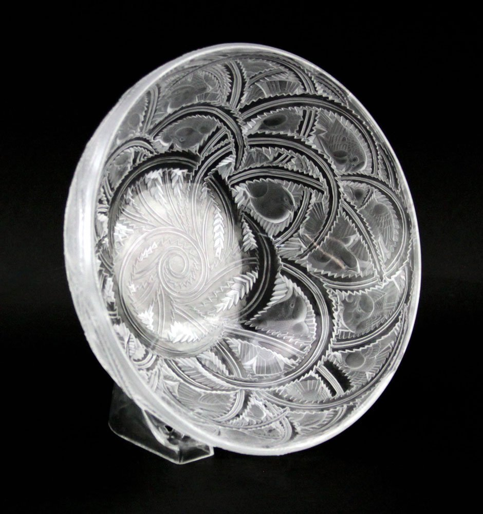 "Lalique France ""Pinson"" Etched Frosted Crystal Bowl. - 2"