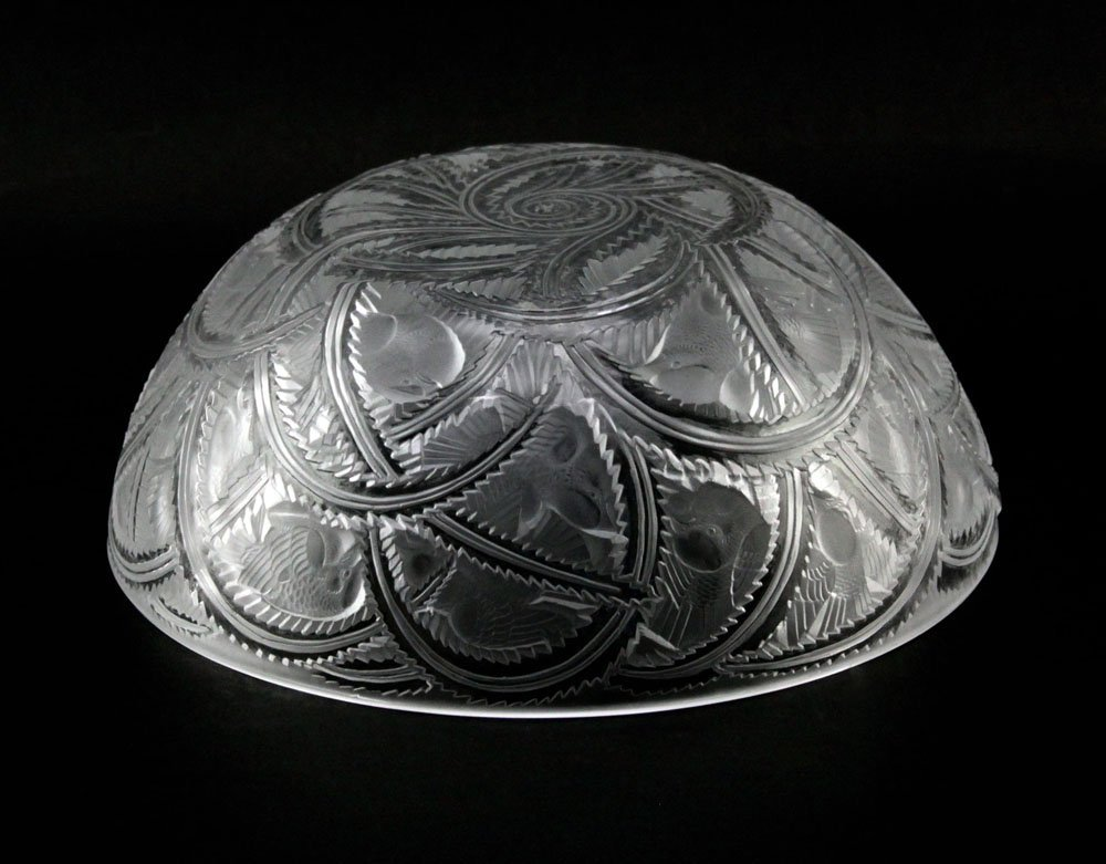 "Lalique France ""Pinson"" Etched Frosted Crystal Bowl. - 3"