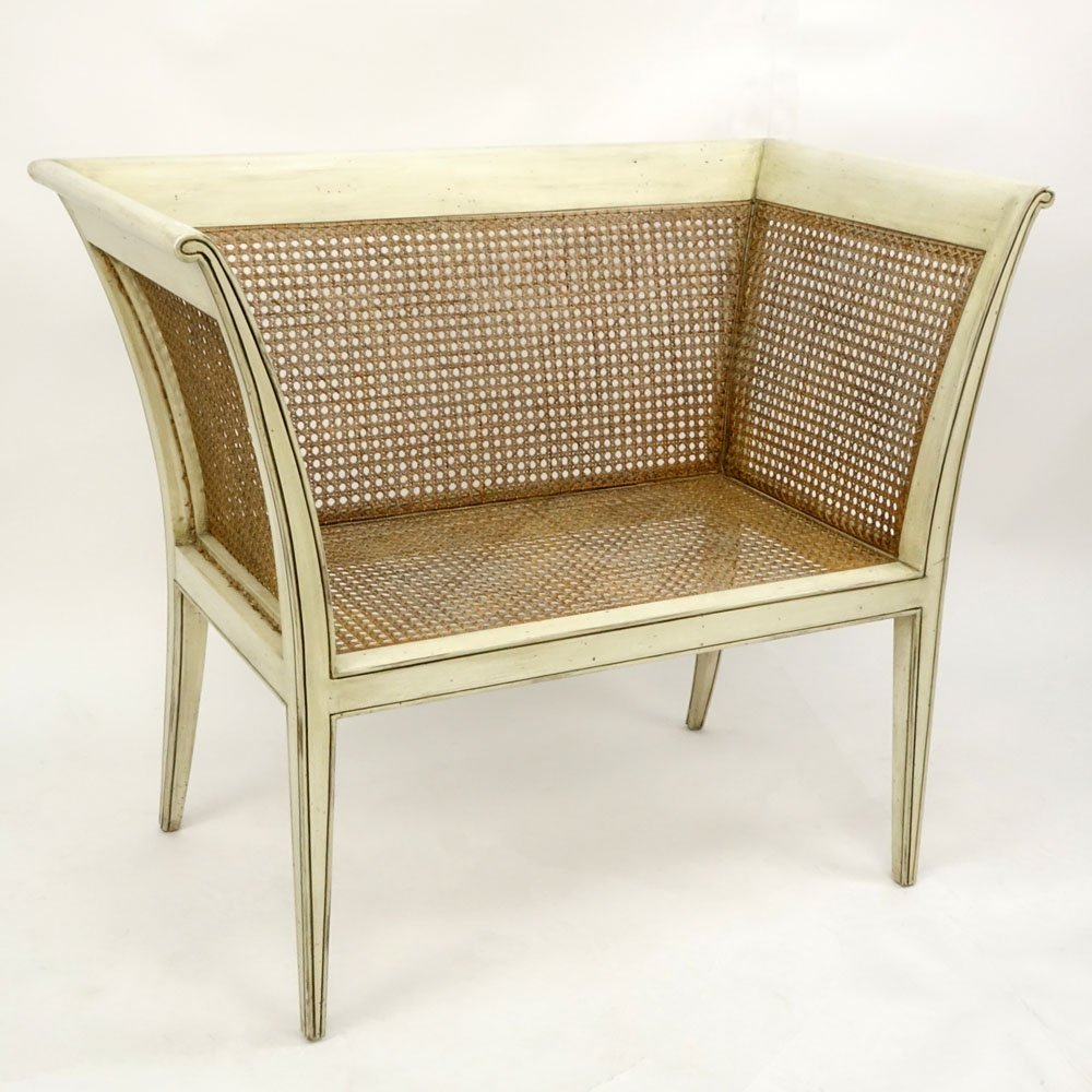 20th Century Italian Painted Wood settee/Bench. Caning