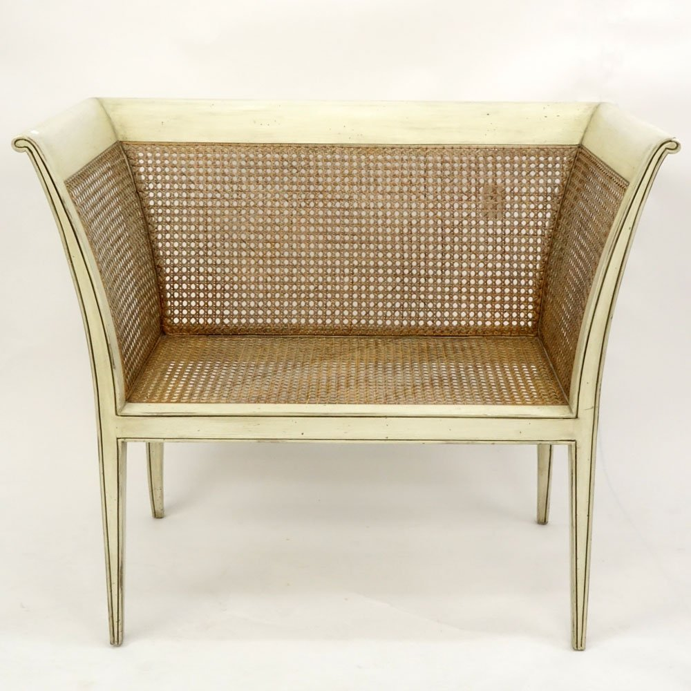 20th Century Italian Painted Wood settee/Bench. Caning - 2