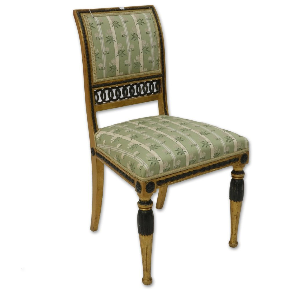 19th Century Italian Painted Directoire Side Chair.