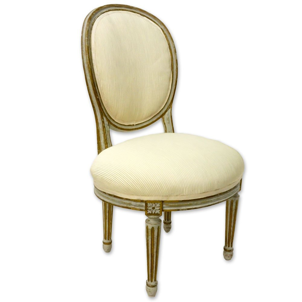 19/20th Century Louis XVI Style Painted Upholstered