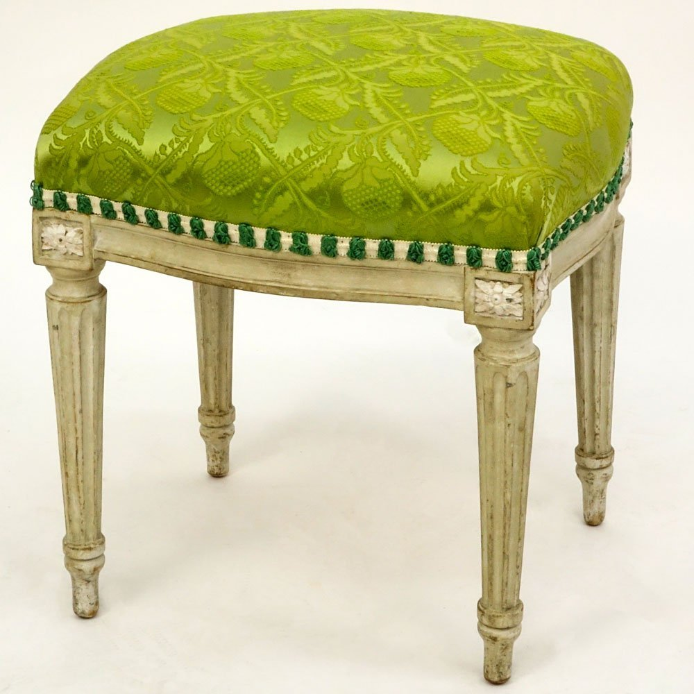 18th Century Gustavian Painted Tabouret. Distressed