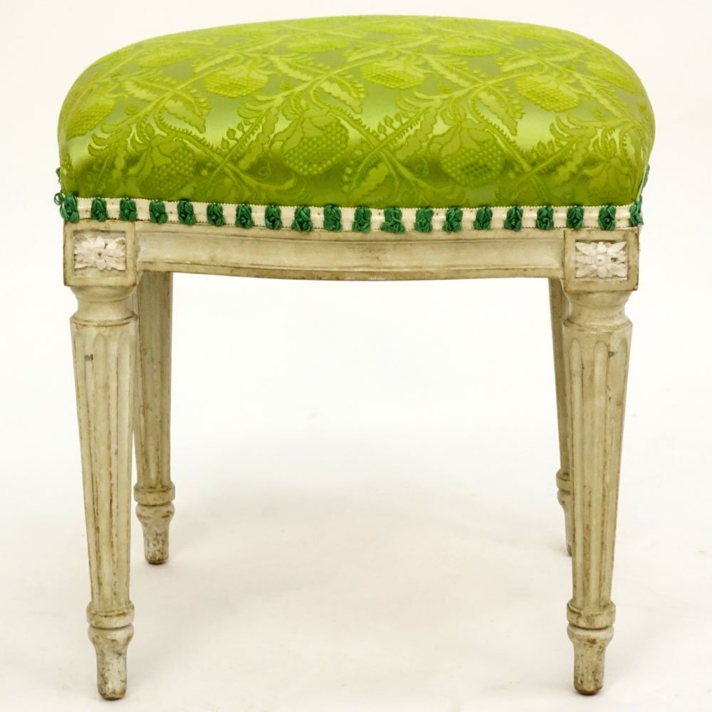 18th Century Gustavian Painted Tabouret. Distressed - 2