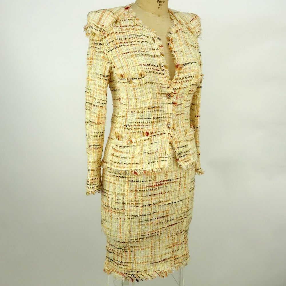 Chanel Boutique Colorful Retro Style Tweed Suit Set.