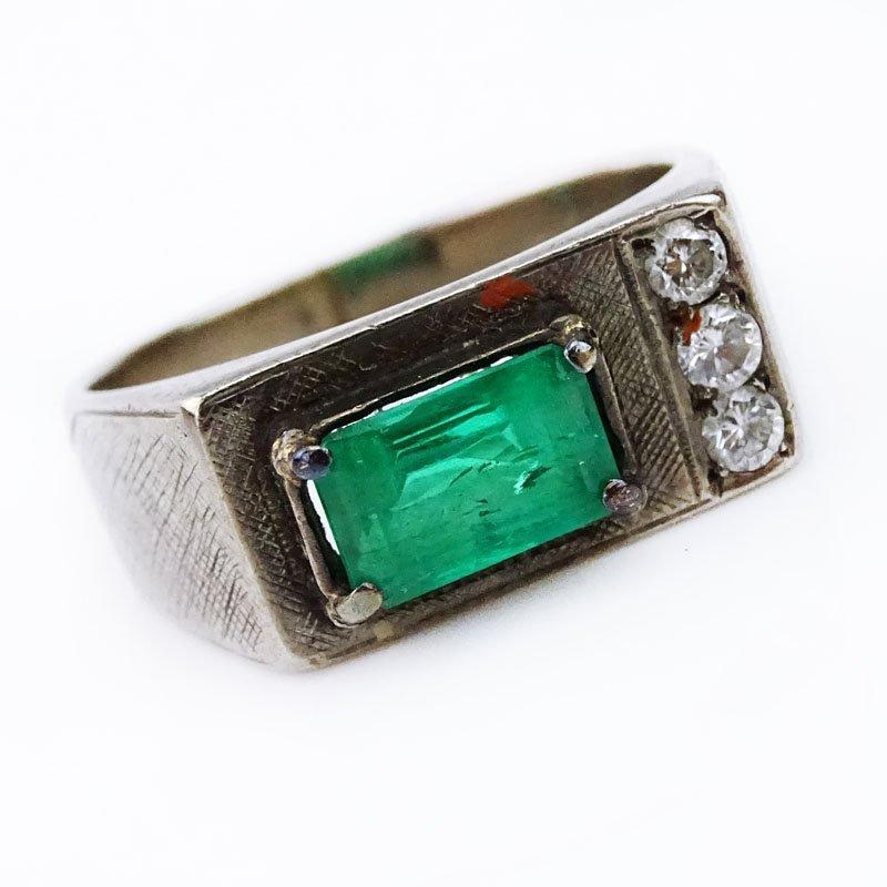 Men's Vintage Emerald, Diamond and 18 Karat White Gold