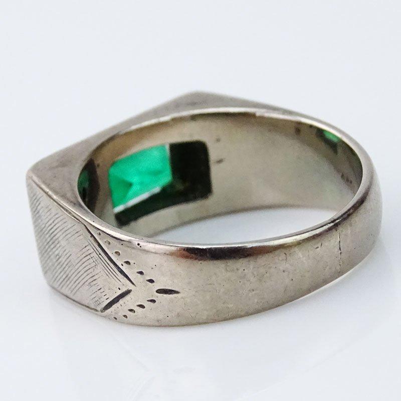 Men's Vintage Emerald, Diamond and 18 Karat White Gold - 2