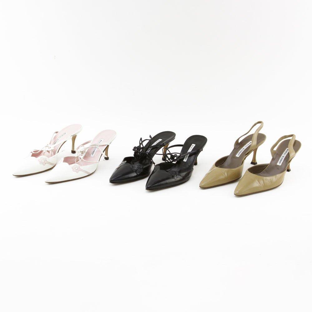 Grouping of Three (3) Manolo Blahnik Leather Heels.