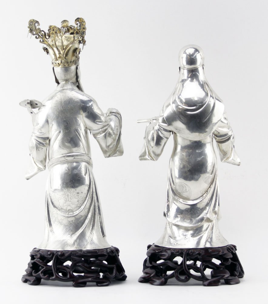 Grouping of Two (2) Old Chinese Export Silvered Metal - 2