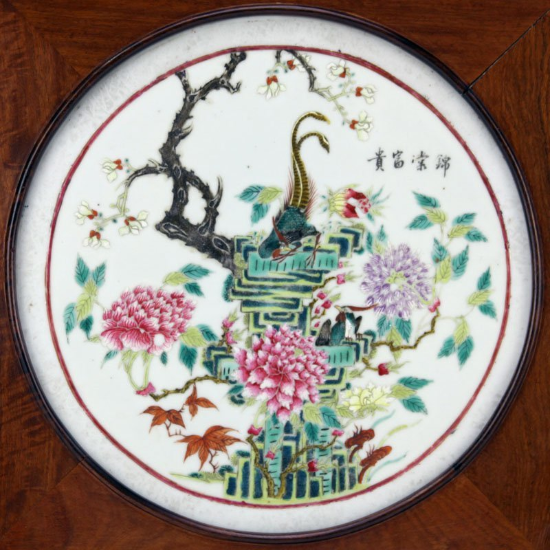 Antique Chinese Hand Painted Porcelain Round Plaque. In