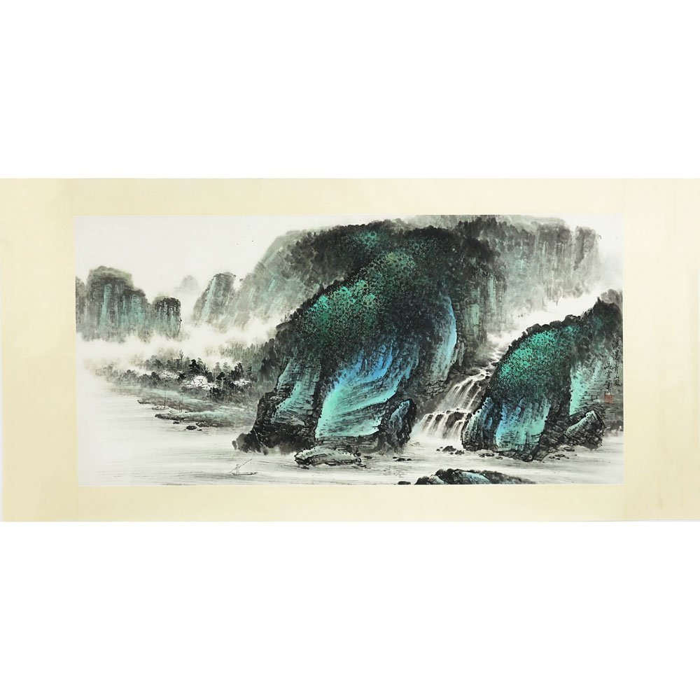 20th Century Chinese Watercolor on Paper. Mountain - 2